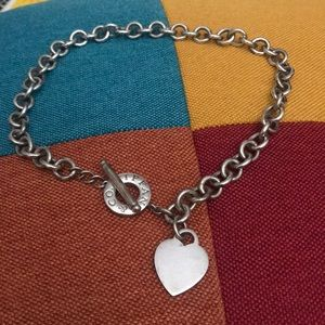 Authentic Tiffanys & Co. Heart and Toggle Necklace